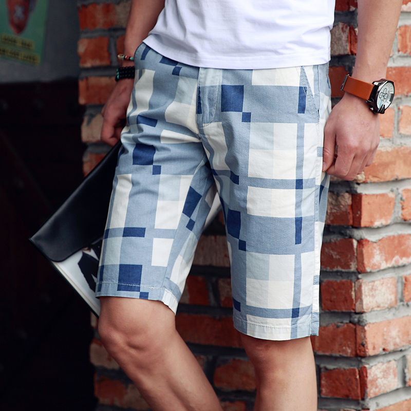 2016 summer new houndstooth plaid men's fashion casual shorts pants xl casual pants five pants breeches