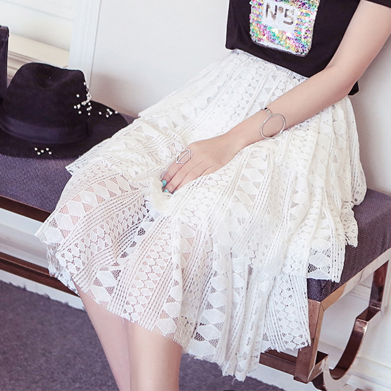 2016 summer new korean fashion wild temperament was thin openwork crochet waist bud silk skirts cake