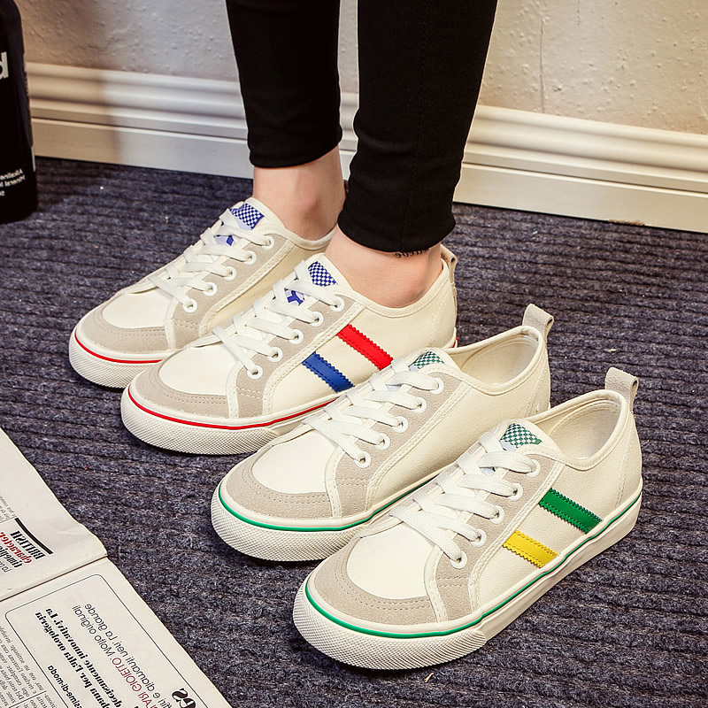2016 summer new korean ulzzang korean version spell color canvas shoes wild shoes female student flat sports shoes
