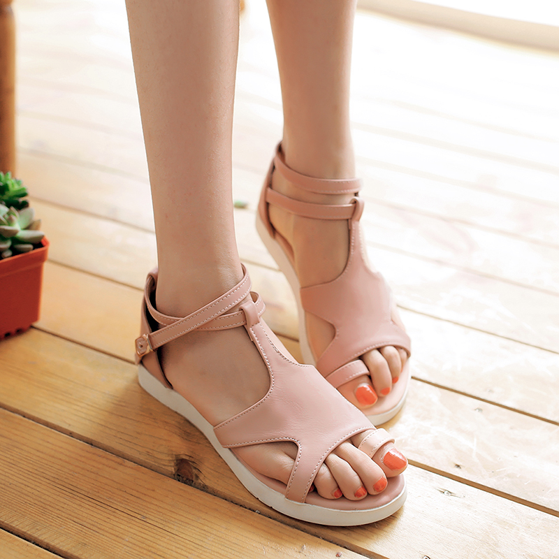 731577dfbe450 Get Quotations · 2016 summer new korean version of casual flat with flat thong  sandals big virgin girls sandals