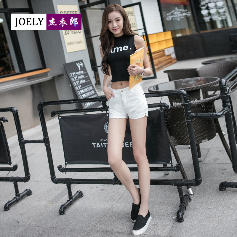 2016 summer new korean version of outer wear denim shorts female summer was thin waist slim hundred ride sexy white shorts