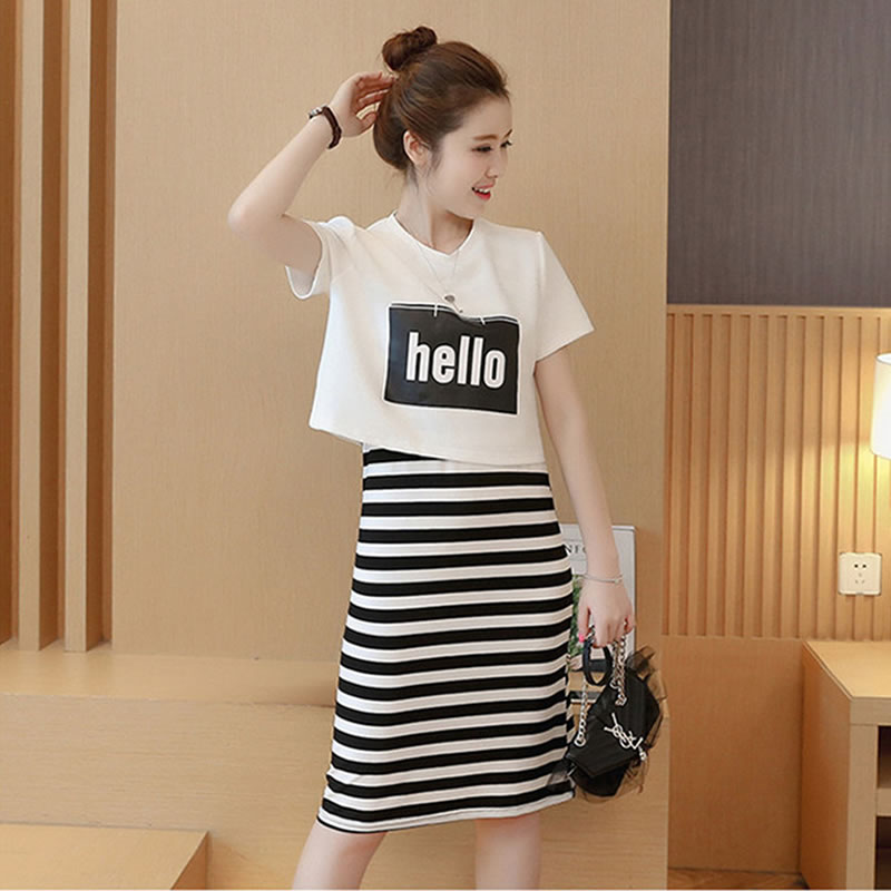 31143b73b5b Get Quotations · 2016 summer new korean version of sleeved striped vest  skirt long section of college wind jumpsuit