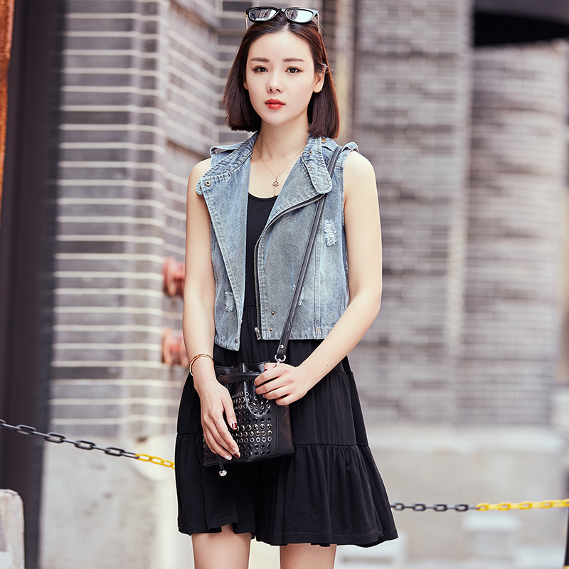 2016 summer new korean version of the denim blue denim overalls denim vest sleeveless denim vest short paragraph slim lapel vest female