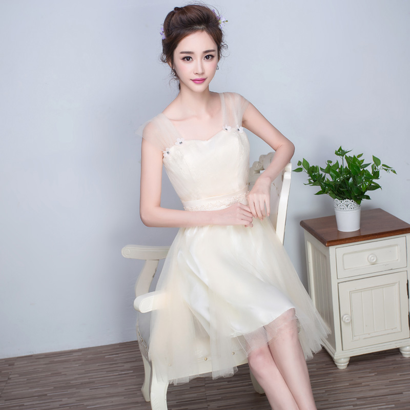 2016 summer new korean version of the shoulder champagne bridesmaid dress bridesmaid dress sister bridesmaid dress short paragraph sister skirt bridesmaid dresses mission