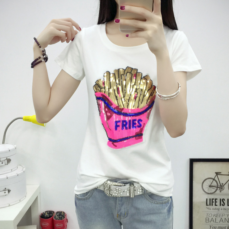 2016 summer new korean women sequined short sleeve t-shirt female korean wild was thin cotton shirt compassionate tide