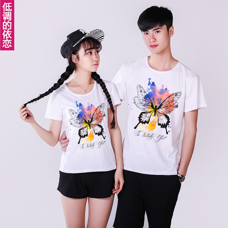2016 summer new lovers korean student class service short sleeve t-shirt loose cotton leisure sports suit female