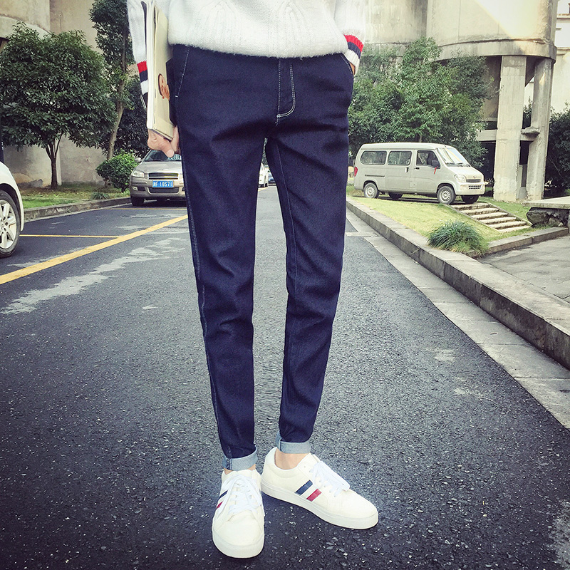 2016 summer new men's jeans korean version of slim models summer influx of young korean version of the long pants students