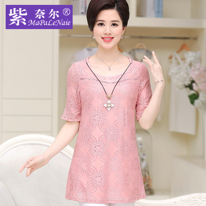 2016 summer new middle-aged mother dress middle-aged middle-aged women's summer middle-aged middle-aged women's loose t-shirt bottoming shirt lace shirt