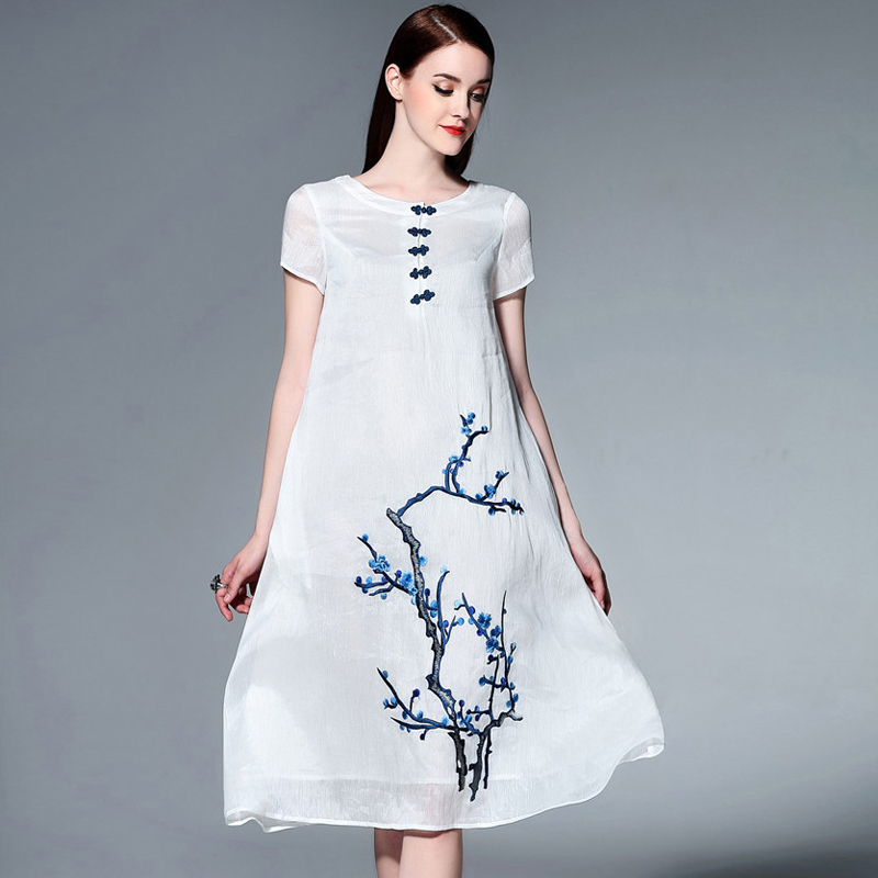 2016 summer new women embroidered silk short sleeve dress vintage theatrical linen and comfortable large size women skirt