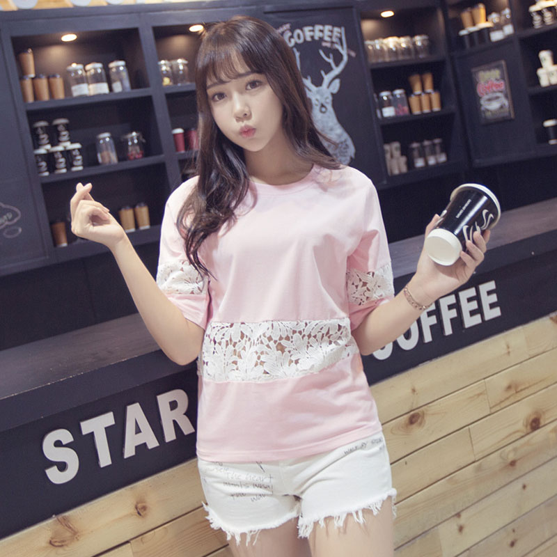 2016 summer new women lace short sleeve t-shirt korean version of the five points sleeve solid color loose big yards compassionate bottoming shirt