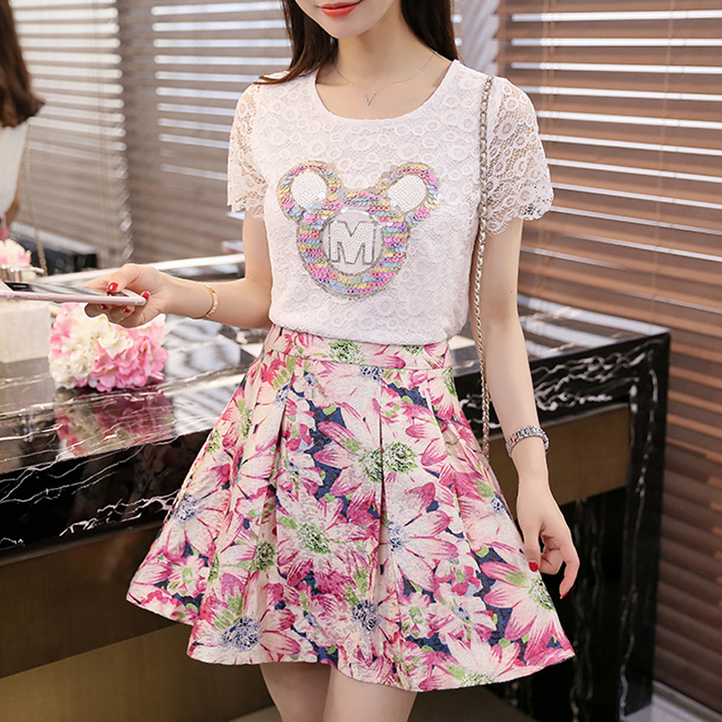 2016 summer new women's large size was thin white lace openwork lace shirt tutu skirt piece fitted skirt dress