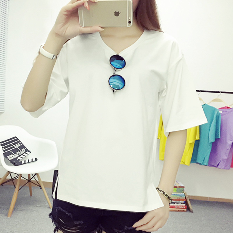 2016 summer solid color cotton round neck short sleeve t-shirt female korean fan loose fashion student white shirt bottoming shirt women