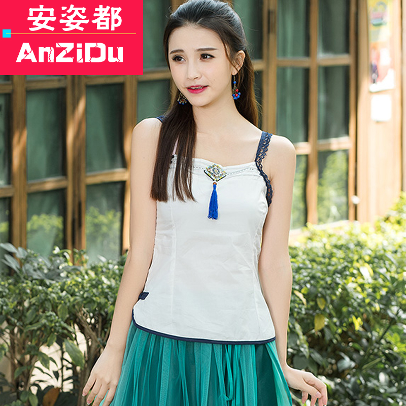 2016 summer vintage theatrical large size women's white summer camisole tops bottoming small harness inside the ride waichuan