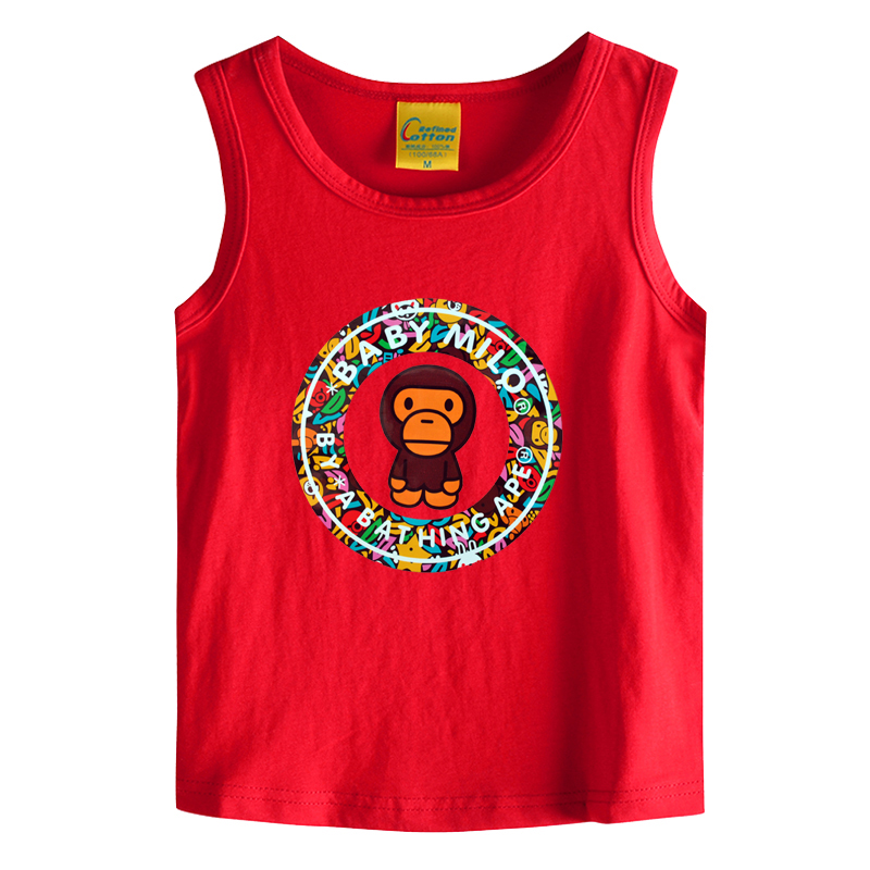 2016 tide brand monkey boys and girls summer children's vest vest baby cotton sleeveless t-shirt big virgin child short sleeve men t