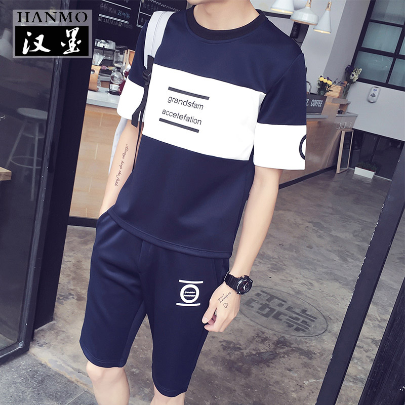 2016 tide brand summer round neck short sleeve t-shirt suit male big yards japanese printing casual sportswear suit summer