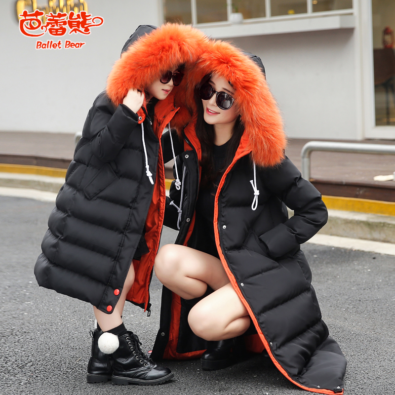 2016 winter new hooded fur collar coat jacket mother of women kids family fitted padded jacket and long sections women