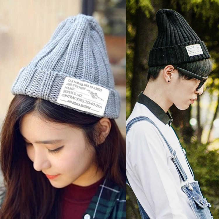 Get Quotations · 2016 winter new korean ladies wool hat knitted hat pointy  head threaded sleeve tide male couple 62ac36b9acfb