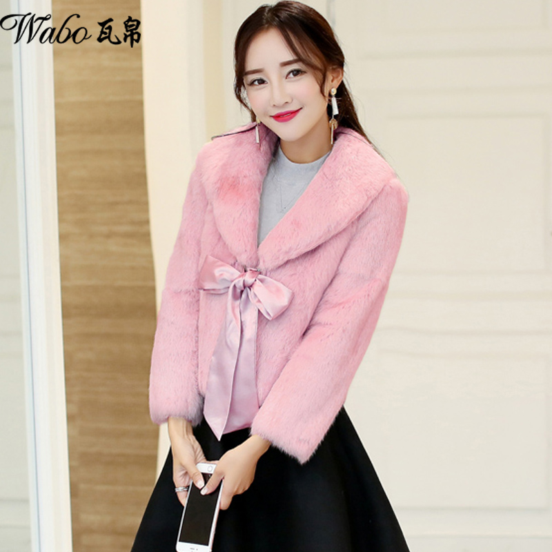 2016 winter new korean version of slim was thin round neck short section of thick warm rabbit fur coat female small fragrant wind