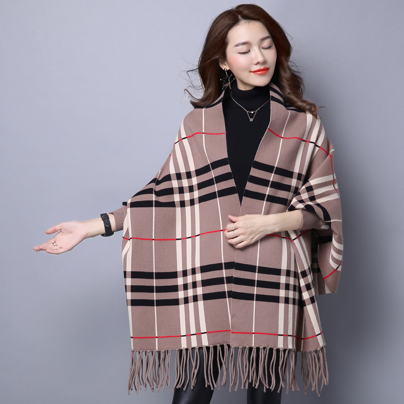 2016 winter new korean version of thick knit cardigan coat female cape fringed shawl scarf long sleeve sweater female