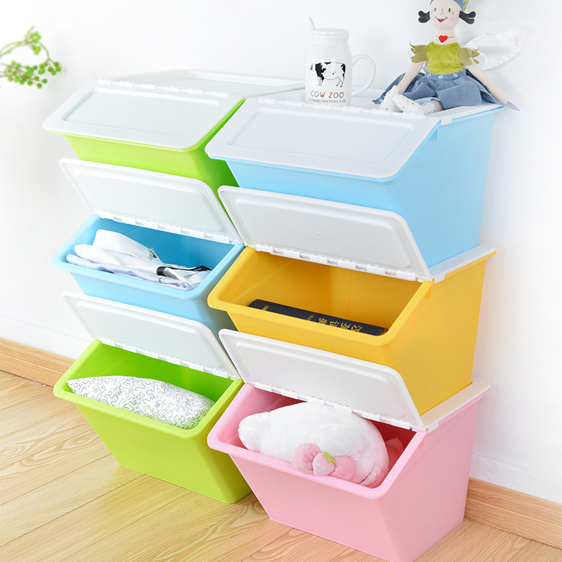 3 dew colorful stackable plastic storage box with a lid fitted clothes matter of food storage box finishing box set