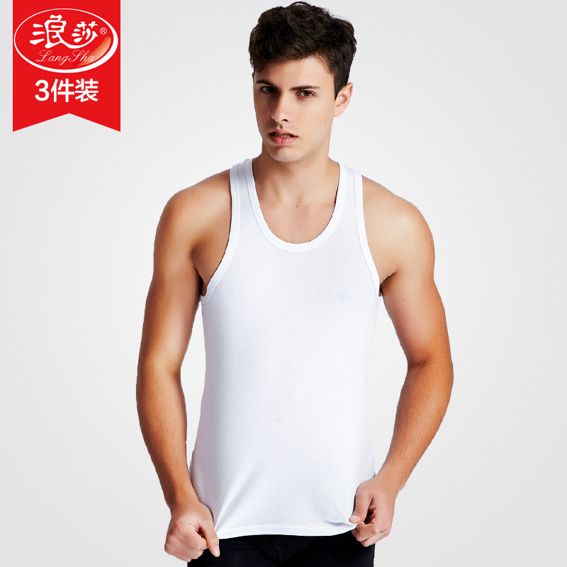 3 fitted langsha wicking men's cotton vest male summer sport sleeveless undershirt slim bottoming black
