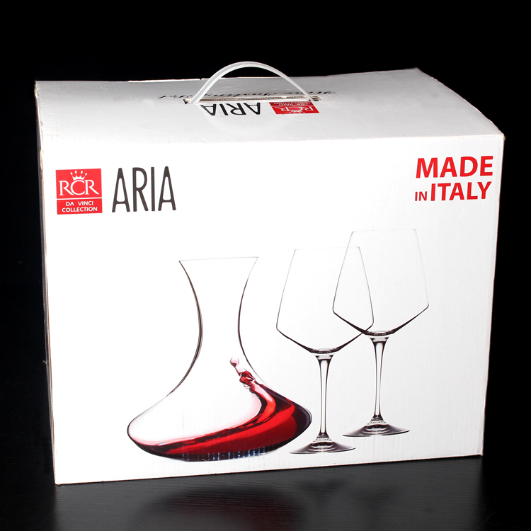 3 gift gift set! italy rcr imported crystal wine goblet glass of red wine decanters