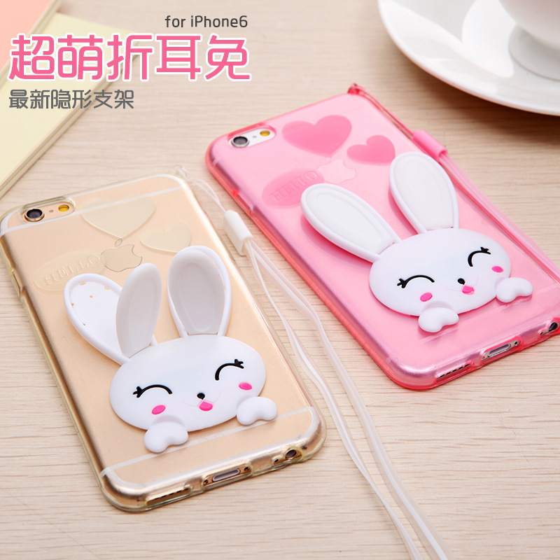 3 red rice red rice phone shell silicone 3 mobile phone sets rabbit bracket with lanyard cartoon popular brands of soft shell protective sleeve female