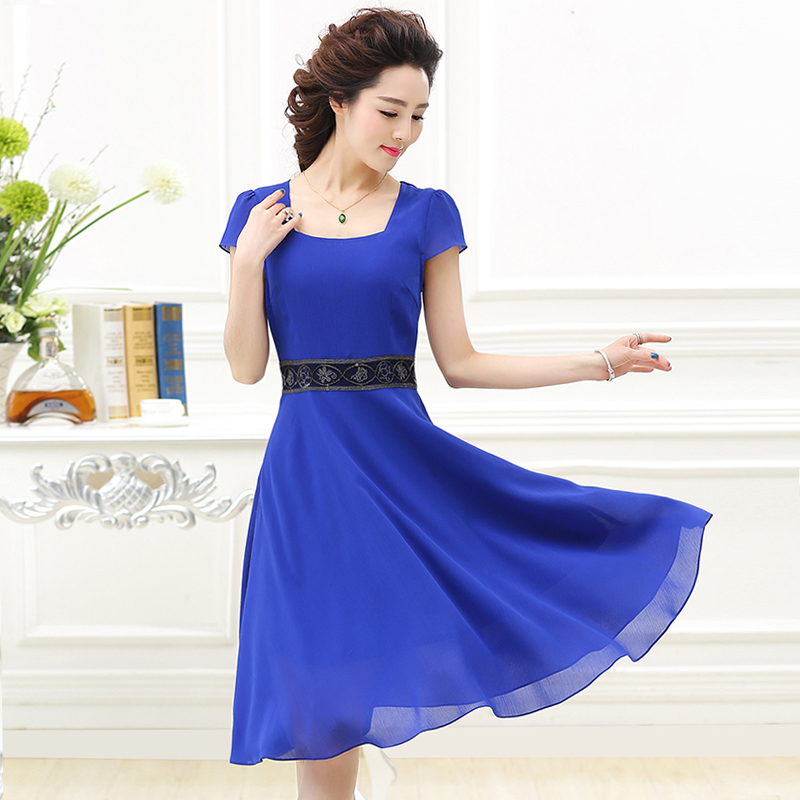 30-40-year-old slim square collar middle-aged woman mother dress summer dress chiffon dress female summer influx of 2016 new