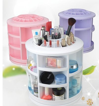 360 degree rotation cosmetic storage box desktop finishing box glove box dresser skincare