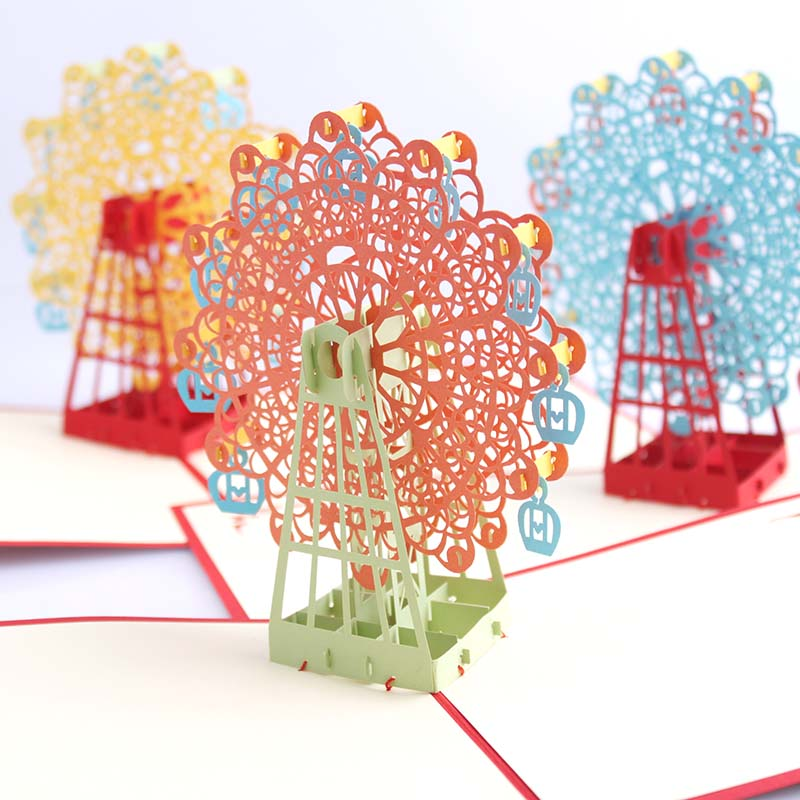 3d stereo love ferris wheel handmade paper sculpture diy creative romantic gift cards birthday wishes greeting cards