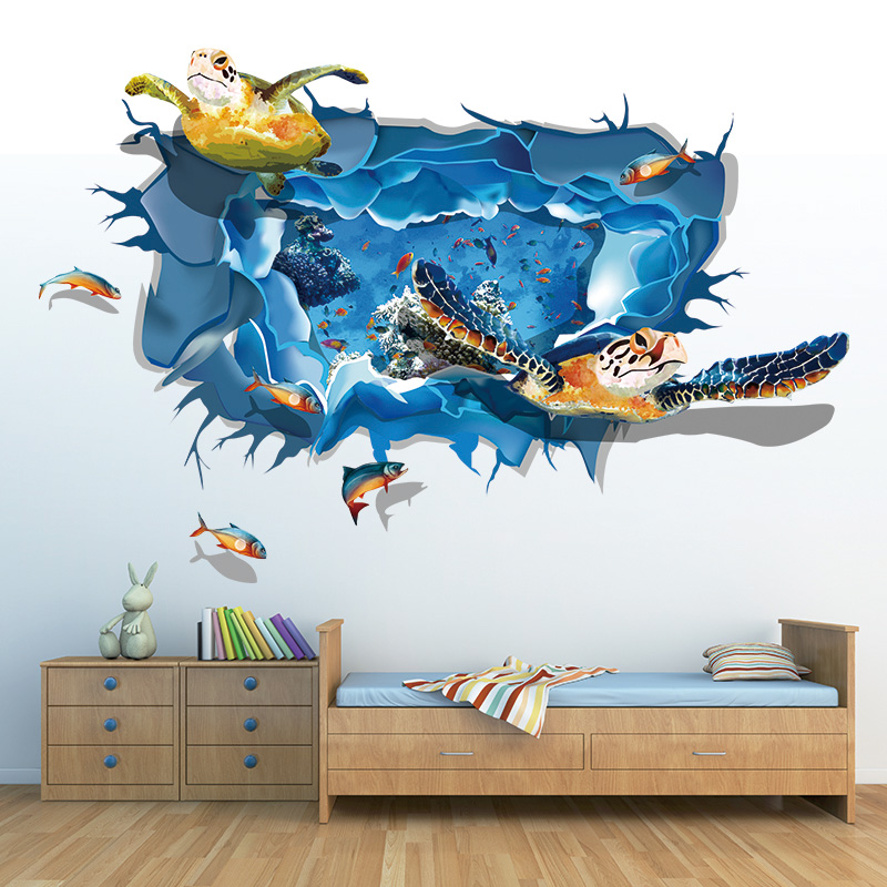 3d stereoscopic 3d mural wall stickers creative deep sea turtle stickers sticker living room bedroom wall stickers restaurant