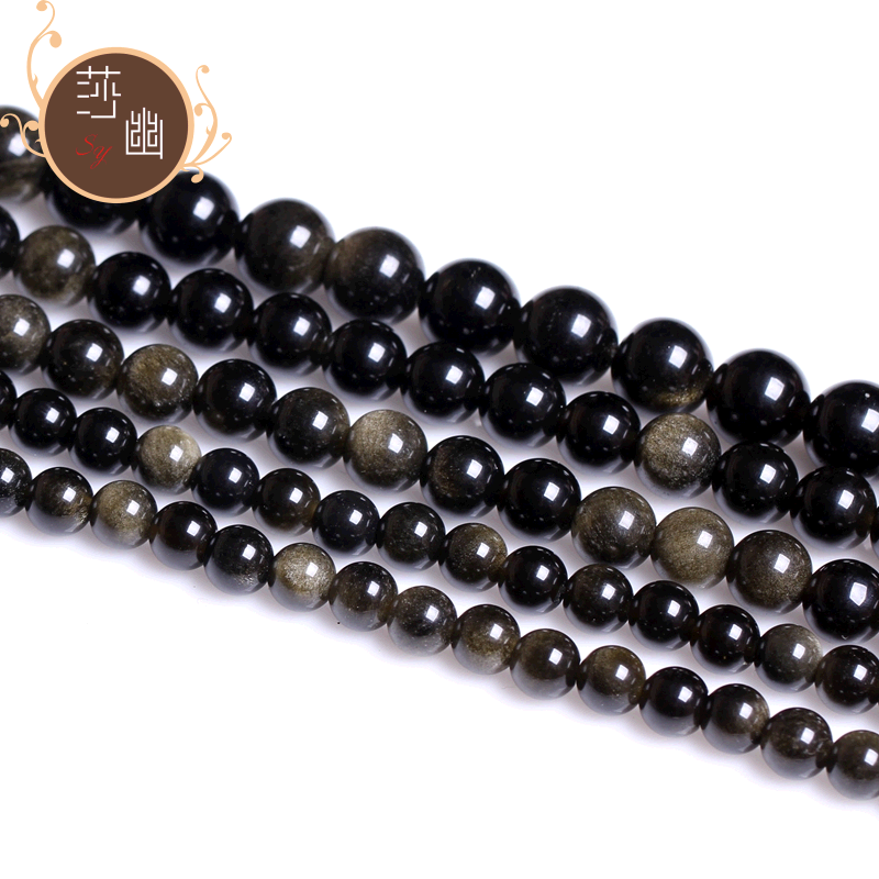 4-20ma 16mm loose beads diy natural crystal gold obsidian obsidian gold semifinished loose beads beaded son
