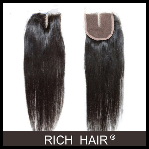 4*4 pervian virgin remy hair straight top lace closure