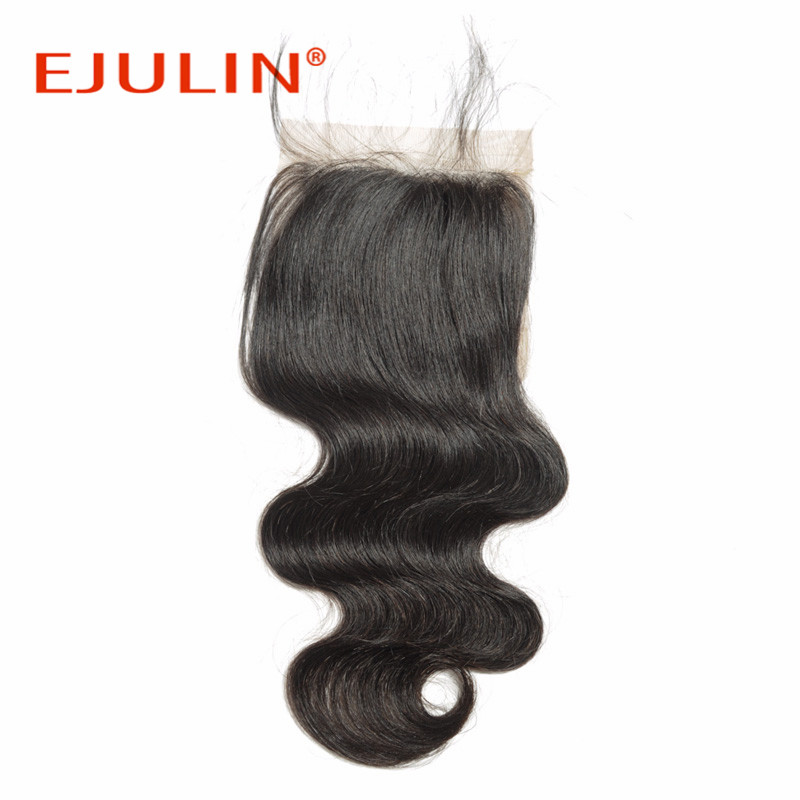 4*4 top peruvian virgin remy hair body wave lace closure