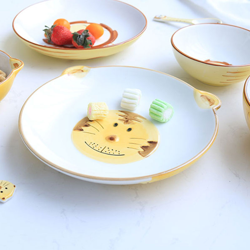 4 sets of ceramic painted small animal cartoon children's practical cute japan and south korea creative cutlery set cutlery