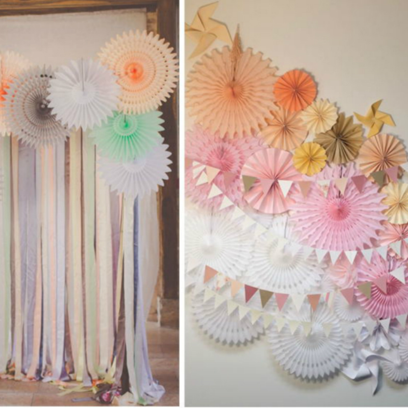 40cm hollow paper flower garland wedding birthday party supplies wedding marriage room decorated and furnished snowflake fan