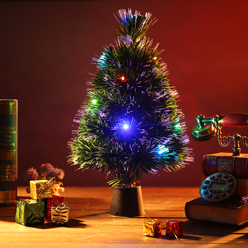 45CM fiber optic flash qijia office desktop christmas tree christmas tree decoration small fans you