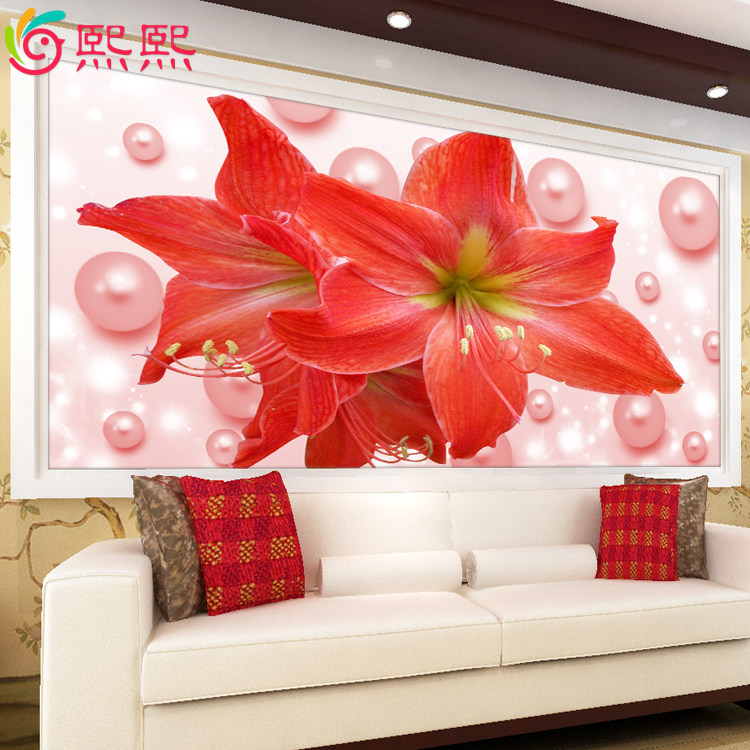 5d diamond diamond embroidery painting 3d printing stitch new pearl lily modern minimalist living room large painting flowers blossoming