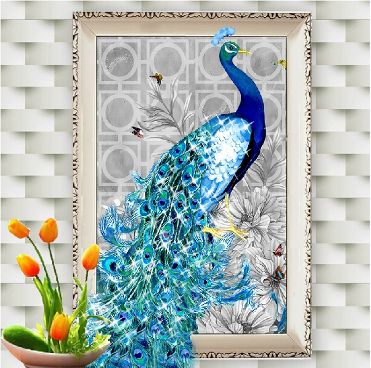 5d diamond paste diamond stitch painted peacock spirit bird diamond embroidery new living room bedroom bedroom entrance vertical version