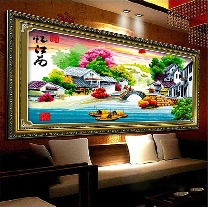 5d diamond stitch yi jiangnan water dream landscape dramatically new living room bedroom sharply round diamond klimts