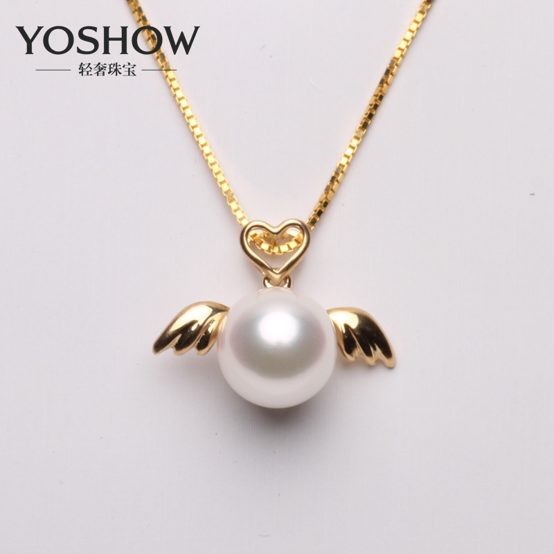 5mm k gold japanese akoya pearl pendant 8-8. little angel models genuine