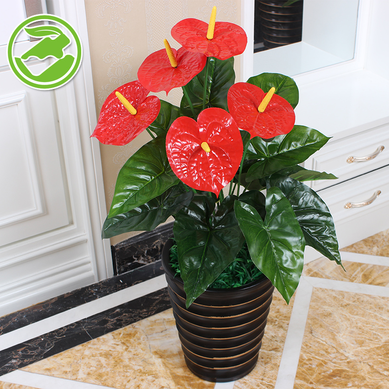 Get Quotations · 65CM Five Anthurium Plants Artificial Flowers Artificial  Flowers Decorate The Living Room Floor Suite Indoor Potted