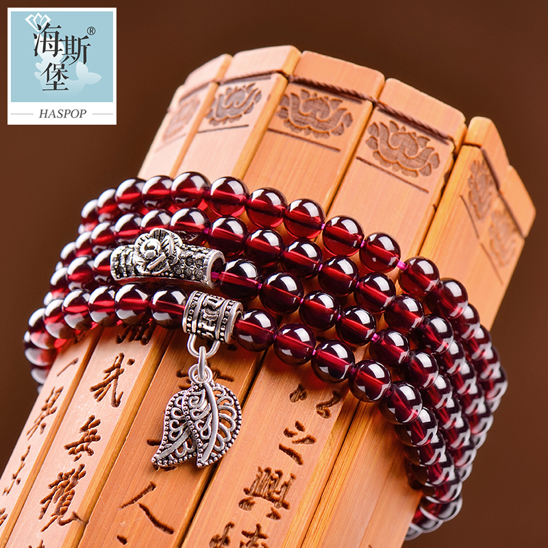 6a garnet bracelet female 925 silver leaves simple birthday gift custom bracelet korean version of sweet student