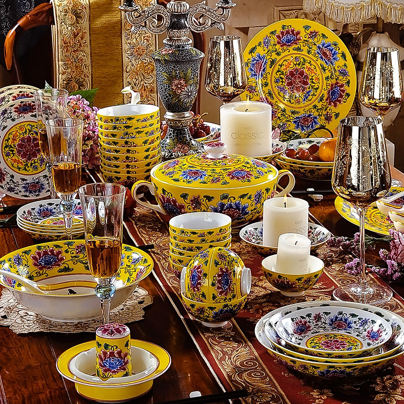 79 head jingdezhen imperial palace upscale pastel enamel ceramic tableware suit continental dishes tableware