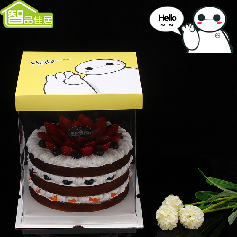 8 chile sac living a double 8-inch cake box transparent box cake box 10 inch 6 inch cake box package box Baking packaging