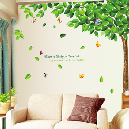 886 fresh tree tree flowers three generations of removable wall stickers living room tv sofa bed bedroom background wall stickers paper painting