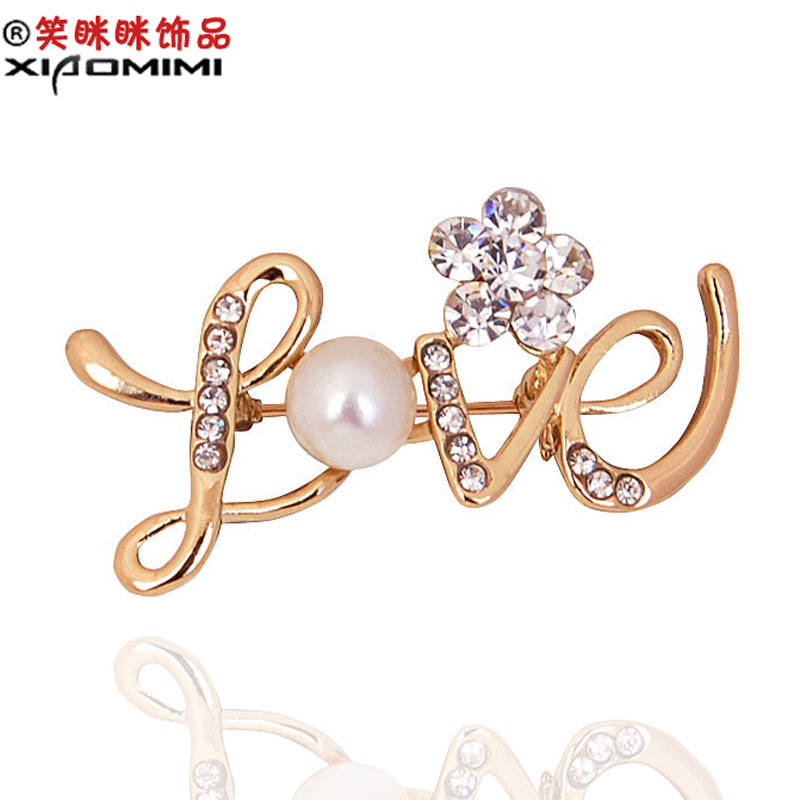 9.9 yuan shipping smiling love crystal diamond brooch korean female corsage brooch pin collar pin korean fashion