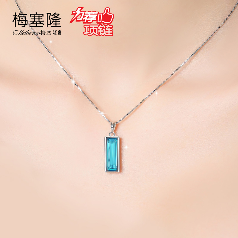 925 new short clavicle chain pendant silver necklace female models blue zircon crystal rectangular geometric autumn birthday gift