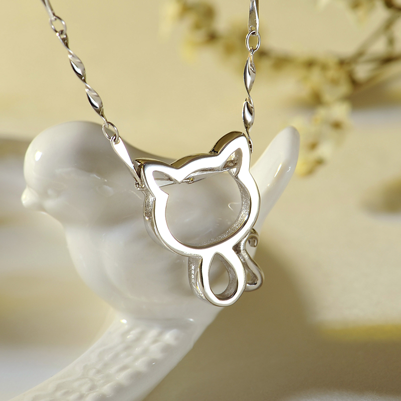 925 silver necklace female clavicle chain female cat necklace female korean jewelry simple pendant necklace gift to send female students