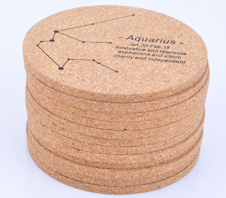 A full twelve zodiac cork placemat coaster insulation pad creative coaster wooden coasters personalized restaurant